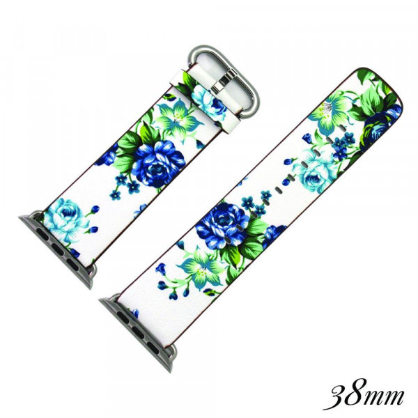 "Faux leather watch band for smart watches featuring a black and blue floral print. Approximately 9.75"" in length.   - 38mm - Adjustable closure"