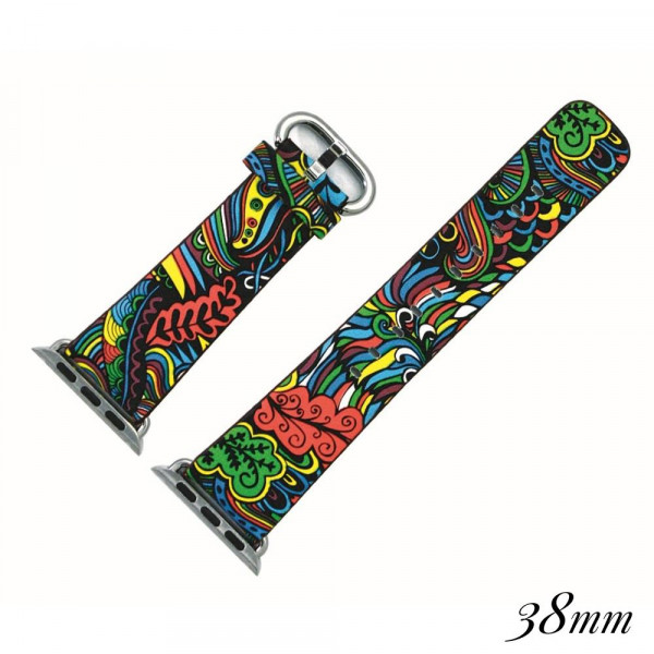 """Faux leather watch band for smart watches featuring a rainbow paisley print. Approximately 9.75"""" in length.  - 38mm - Adjustable closure"""