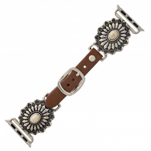 """Interchangeable faux leather watch band for smart watches featuring natural stone inspired details. WATCH NOT INCLUDED. Approximately 9.75"""" in length.  - 38-40mm - Adjustable closure"""