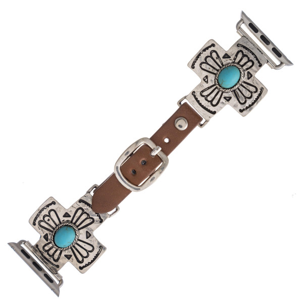 "Interchangeable faux leather watch band for smart watches featuring a cross detail with a natural stone accent. WATCH NOT INCLUDED. Approximately 9.75"" in length.  - 38mm - Adjustable closure"