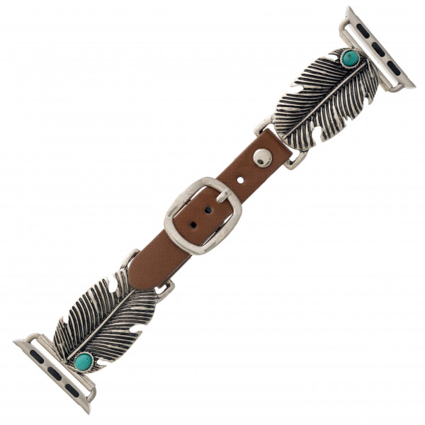 """Interchangeable faux leather watch band for smart watches featuring metal feather details with natural stone accents. WATCH NOT INCLUDED. Approximately 9.75"""" in length.  - 38-40mm - Adjustable closure"""