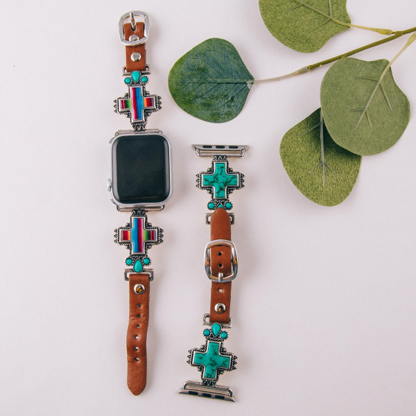 "Interchangeable faux leather watch band for smart watches featuring a multicolor natural stone cross detail. WATCH NOT INCLUDED. Approximately 9.75"" in length.  - 38mm - Adjustable closure"