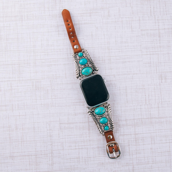 "Interchangeable faux leather watch band for smart watches featuring natural stone inspired details. WATCH NOT INCLUDED. Approximately 9.75"" in length.  - 38mm - Adjustable closure"