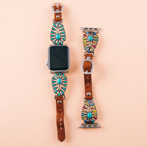 "Interchangeable faux leather watch band for smart watches featuring natural stone and enamel inspired details. WATCH NOT INCLUDED. Approximately 9.75"" in length.  - 38mm - Adjustable closure"