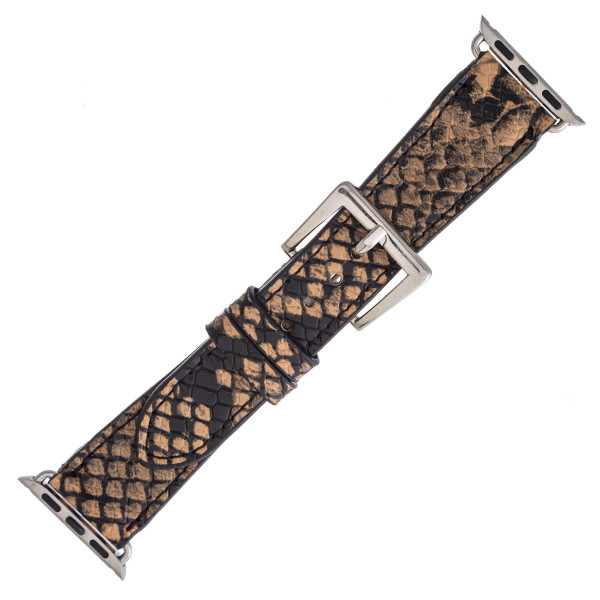 "Interchangeable faux leather snakeskin watch band for smart watches. WATCH NOT INCLUDED. Approximately 8.5"" in length.  - 38mm - Adjustable closure"