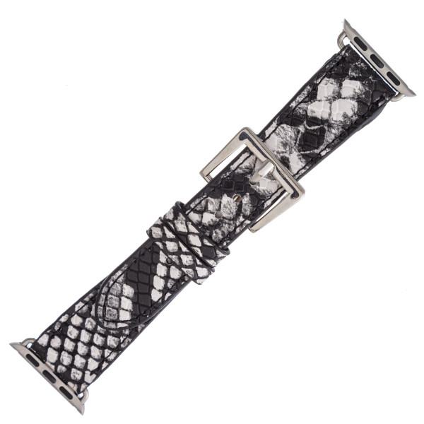 """Interchangeable faux leather snakeskin watch band for smart watches. WATCH NOT INCLUDED. Approximately 8.5"""" in length.  - 38mm - Adjustable closure"""