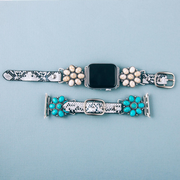 """Interchangeable faux leather snakeskin smart watch band for smart watches featuring western style natural stone details. WATCH NOT INCLUDED. Approximately 9.75"""" in length.  - 38mm - Adjustable closure"""