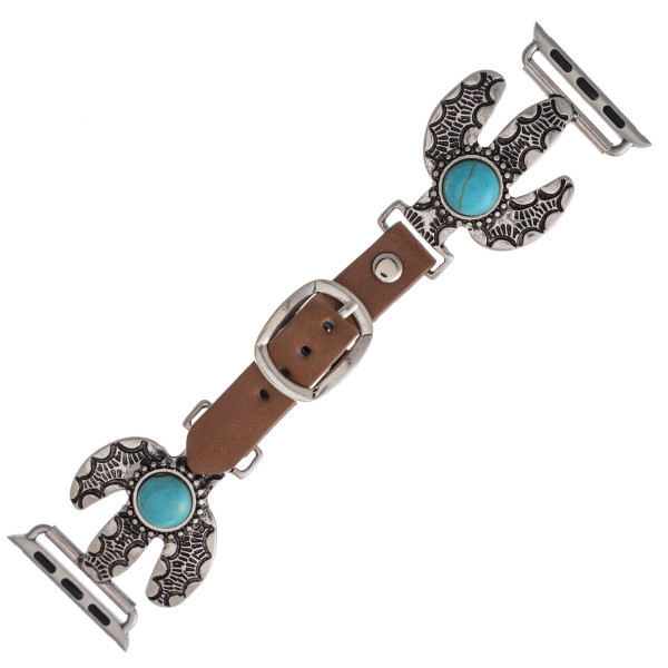 "Interchangeable faux leather watch band for smart watches featuring a cactus detail with a natural stone accent. WATCH NOT INCLUDED. Approximately 9.75"" in length.  - 38mm - Adjustable closure"