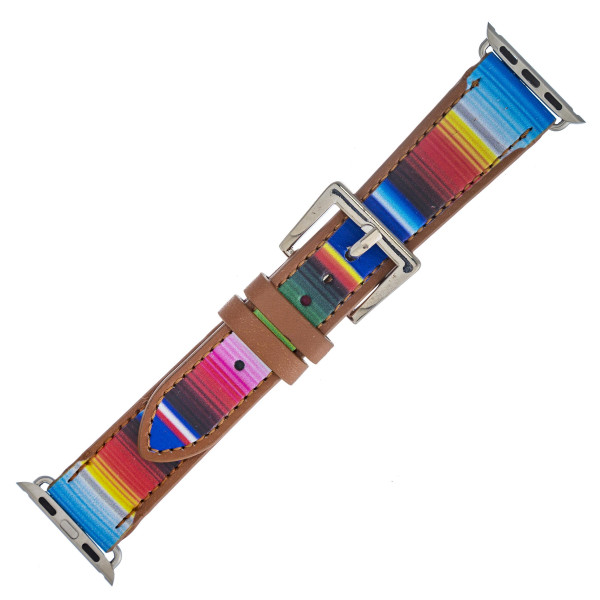 "Interchangeable faux leather western style smart watch band for smart watches only with cork inspired details. WATCH NOT INCLUDED. Approximately 9.75"" in length.  - 38mm - Adjustable closure"