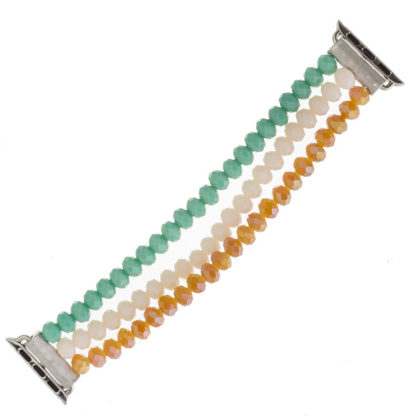 "Interchangeable multicolor faceted beaded stretch smart watch band/bracelet. WATCH NOT INCLUDED. Approximately 4.5"" in diameter. Fits up to a 7"" wrist.  - 38mm"