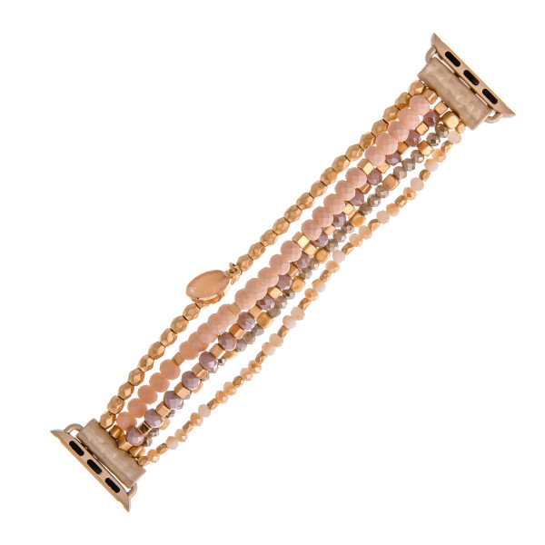 "Interchangeable beaded stretch watch band for smart watches featuring faceted bead details and a druzy charm. WATCH NOT INCLUDED. Approximately 9.5"" in length.  - 38mm - Adjustable closure"