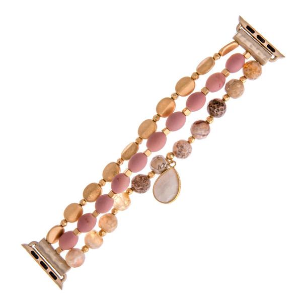 Wholesale interchangeable beaded stretch watch band smart watches natural stone
