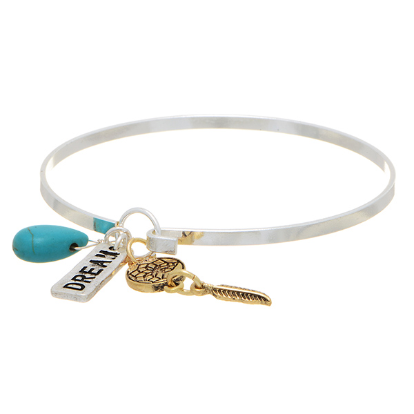 Silver Tone Bangle Bracelet Featuring A Gold Tone Feather And Dream Adorable Dream Catcher Gold Bracelet