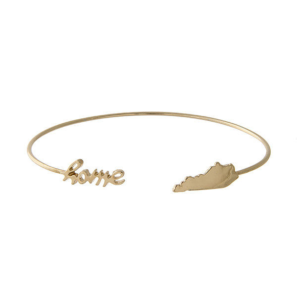 "Gold tone cuff bracelet with ""home"" and the state of Kentucky at the opening."
