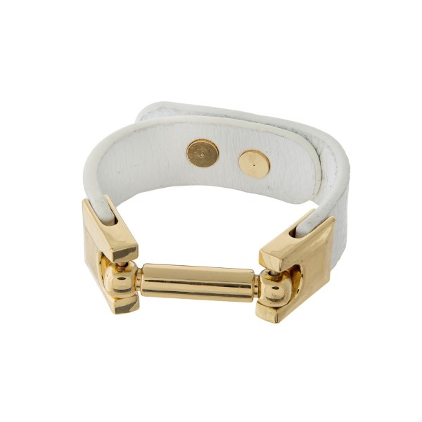"""White genuine leather bracelet with gold tone hardware. Approximately 9.5"""" in length."""