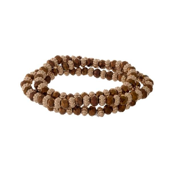 Gold tone beaded wrap, stretch bracelet with bronze beads.