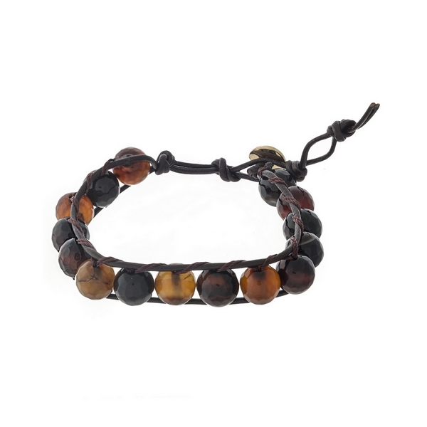 Dark brown cord bracelet with neutral beads and a toggle closure.