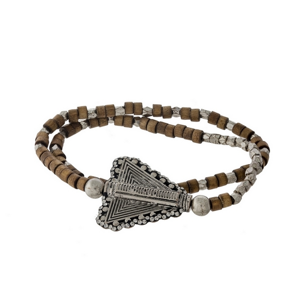 Brown wooden and silver tone beaded stretch bracelet with an arrow focal.