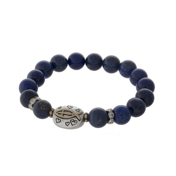 "Blue beaded stretch bracelet with a silver tone bead stamped with ""John 3:16."""