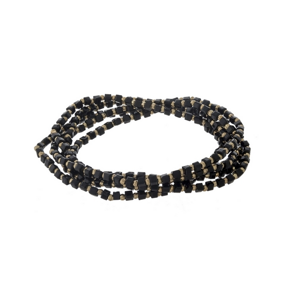 Black beaded stretch bracelet set.