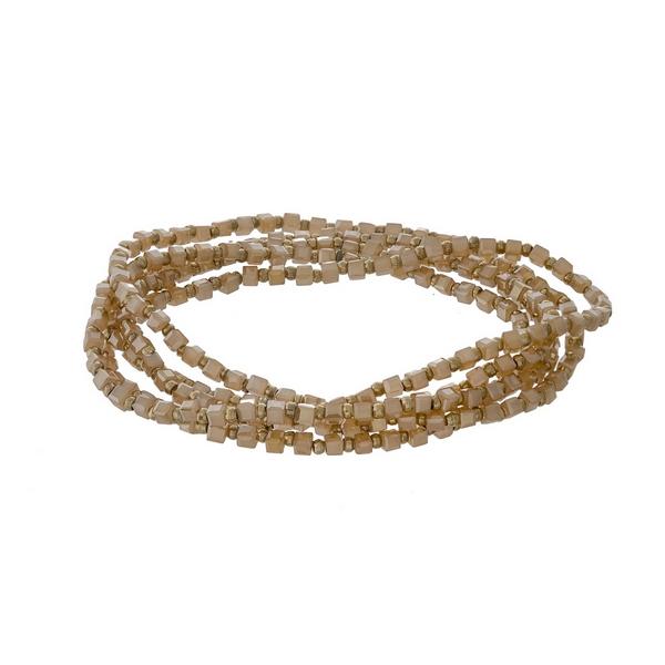 Topaz beaded stretch bracelet set.