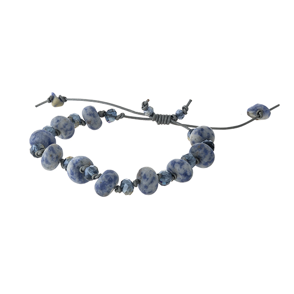 Adjustable waxed cord bracelet with sodalite, natural stone beads. Handmade in the USA.