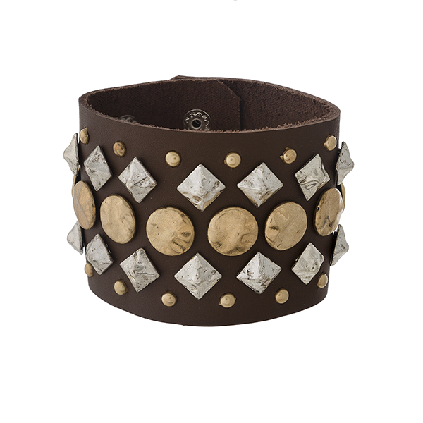 """Brown faux leather snap bracelet with two tone metal stud decor. Approximately 2.25"""" in width."""
