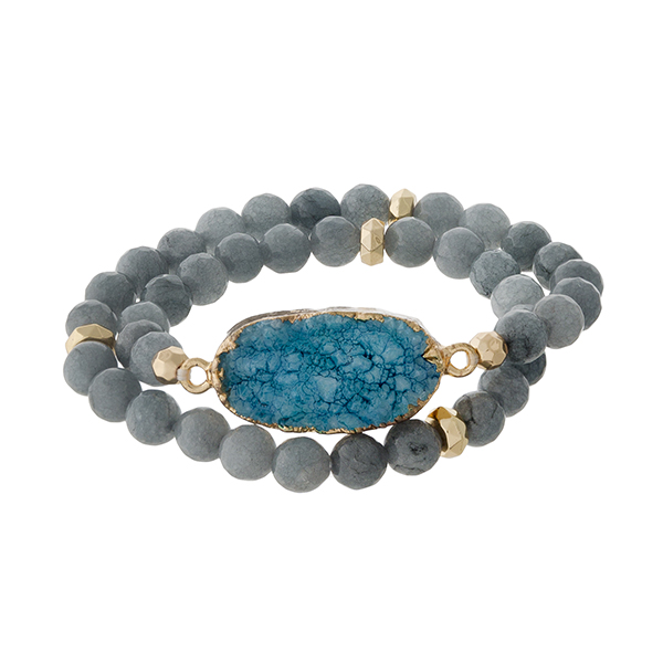 Wholesale gray natural stone beaded wrap bracelet gold accents teal druzy stone