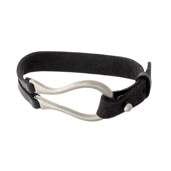 Wholesale black leather silver bracelet button closure