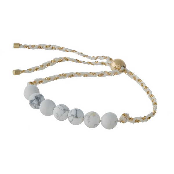 White cord adjustable bracelet featuring howlite natural stone beads.