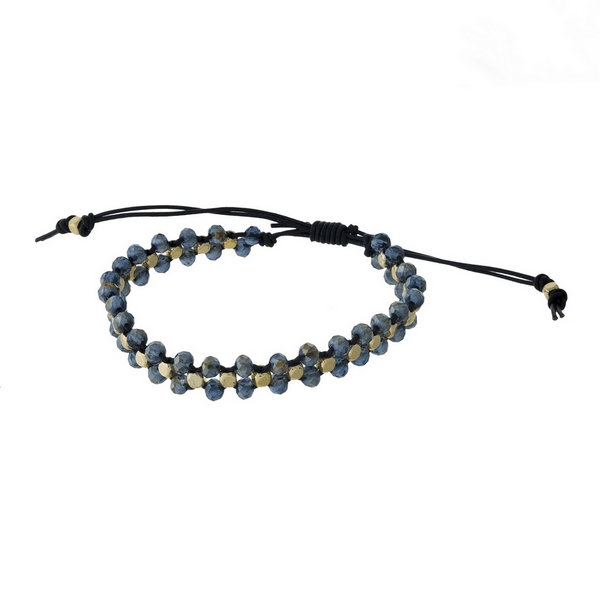 Black cord, pull-tie bracelet featuring braided hematite faceted beads. Handmade in the USA.