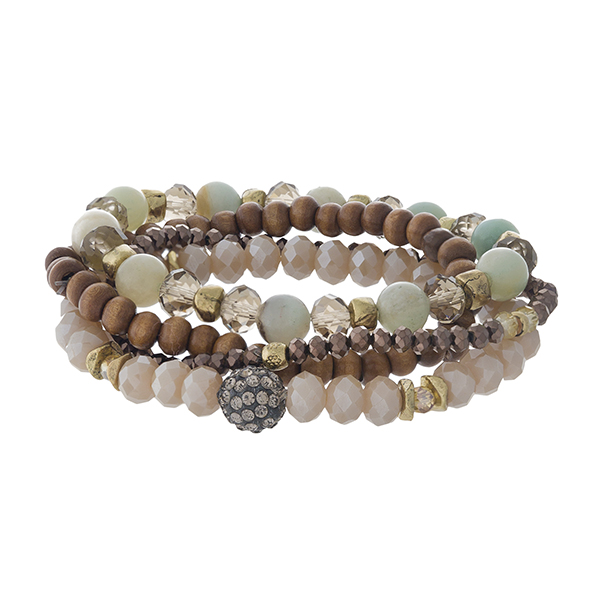 Taupe and Amazonite, natural stone beaded stretch bracelet set with gold tone accents.