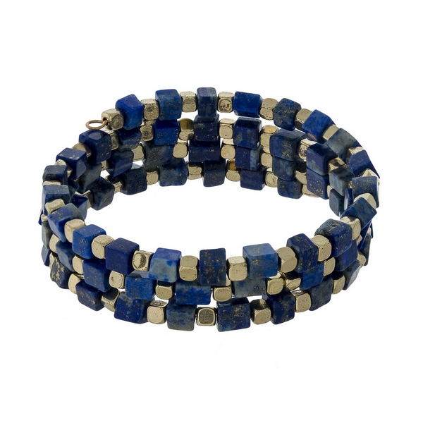 Lapis square natural stone and gold tone beaded coil bracelet.