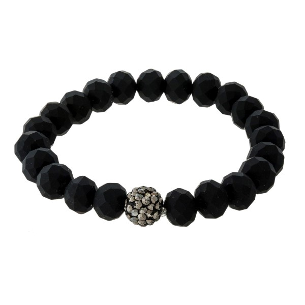 Beaded stretch bracelet with a hematite pave beaded accent.