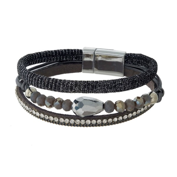 Wholesale thin faux leather magnetic bracelet shimmer accents faceted beads