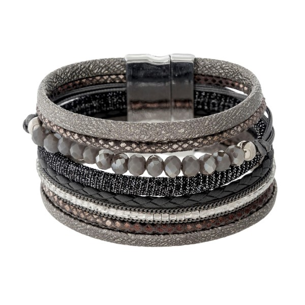 Wholesale faux leather magnetic bracelet faceted beads shimmer details clear rhi