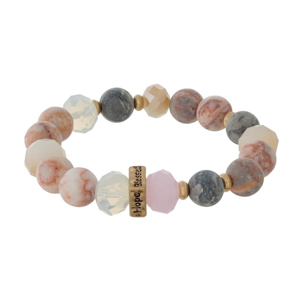 Wholesale natural stone beaded stretch bracelet gold bead stamped Faith Hope Lov
