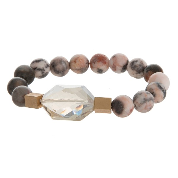 Wholesale natural stone beaded stretch bracelet gold accents faceted stone