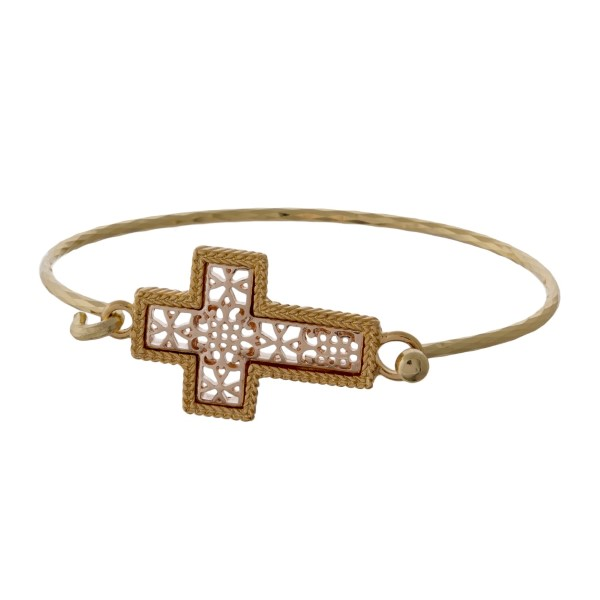 Wholesale gold bangle bracelet filigree cross