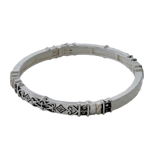 Silver tone, stretch bracelet with a tailored design.