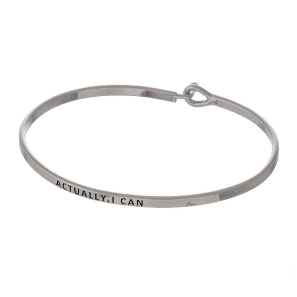 Wholesale metal bracelet engraved message Actually I Can