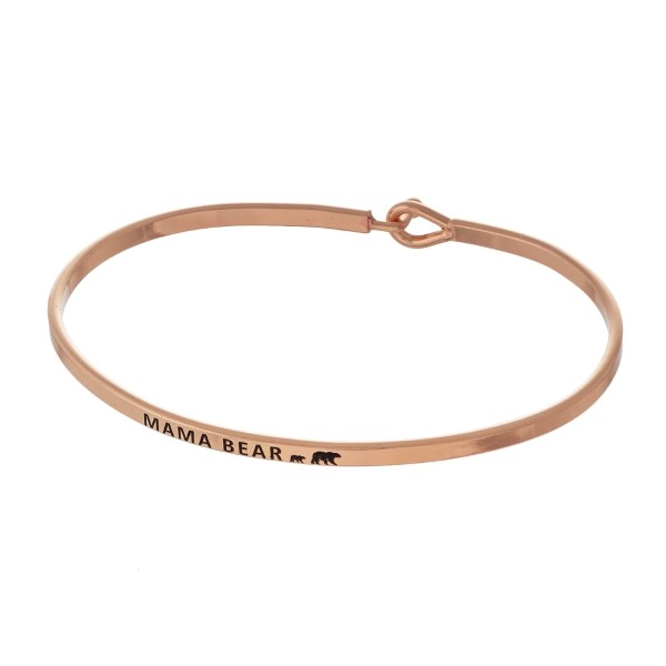 "Metal bracelet with engraved message, ""Mama Bear."""