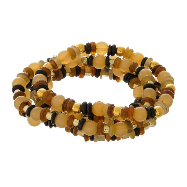 Five piece, stretch bracelet set with natural stone beads.