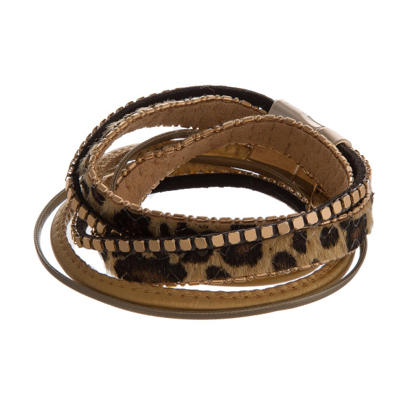 Leather bracelet with cheetah print accent and magnetic closure.