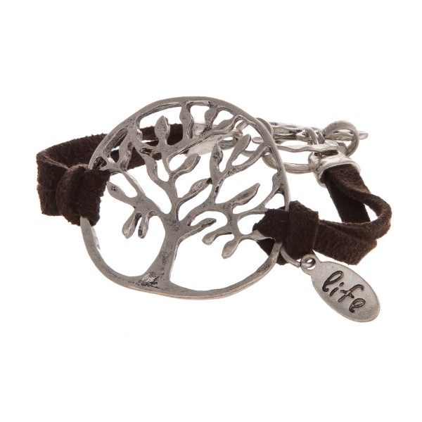 Leather bracelet with tree of life focal.