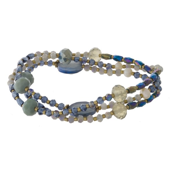 Three bracelet set with faceted beads.