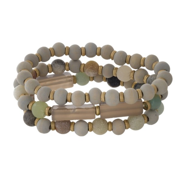 Stretch bracelet set with wooden and natural stone beads.