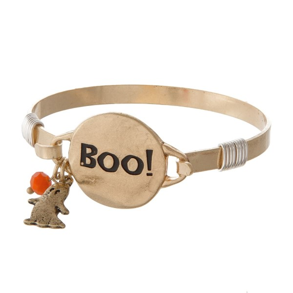 Metal bracelet stamped with Boo.
