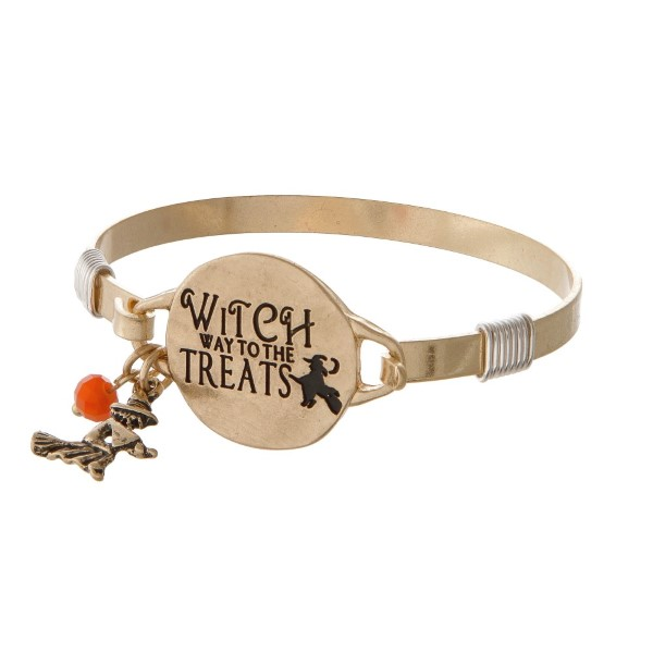 "Metal bracelet stamped with ""Witch Ways to the Treats"""
