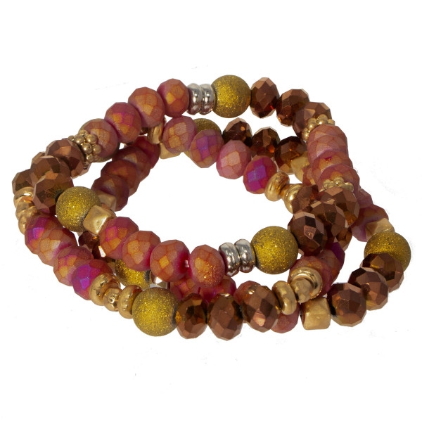 Beaded stretch bracelet set with faceted beads.